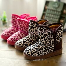 New Girls Boys Boots Kids Childrens Cotton Leopard Shoes Snow Boots Winter T85