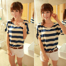 New Womens Casual Batwing Blouse Chiffon Striped Short Sleeve Loose Tops T-Shirt