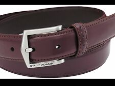 STACY ADAMS MEN'S PINSEAL LEATHER CORDOVAN BELTS,BURGUNDY, NEW WITH TAGS!!