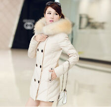 winter new Thicken Slim Double-breasted big fur collar hooded women down jackets