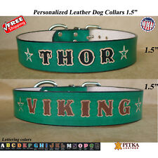Green Leather Dog Collar - Unique Dog Collar - Custom Dog Collars XL - USA made