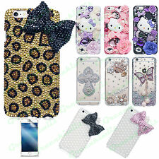 3D HANDMADE LUXURY DIAMOND BLING CASE COVER FOR  APPLE iPHONE + SCREEN PROTECTOR