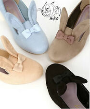 Super Cute Womens Lolita Rabbit Ears Bow Ballet Flat Shoes Bunny Pink Blue Black