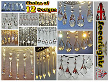 * 5 CHANDELIER DROPS DROPLETS BEADS CRYSTALS GLASS CHRISTMAS TREE DECORATIONS