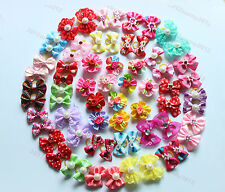 Nice 100pcs Pet Puppy Dog Cat Hair Bows Mix Styles with Rhinestone Dog Grooming