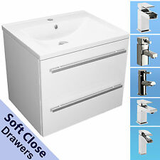 VANITY UNIT 600MM CERAMIC BASIN SINK WALL MOUNTED SOFT CLOSE 2 DRAWER WHITE TAPS