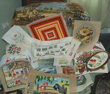 Selection of vintage completed cross stitch & tapestry - for craft projects