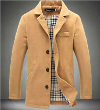 New Mens Wool Blended Slim Collar Thicken Lined Coat Jacket Warm Overcoat Parka