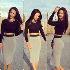 Sexy Fashion Womens Two Piece Black Long Sleeve Bodycon Top + Gray Skirt Set