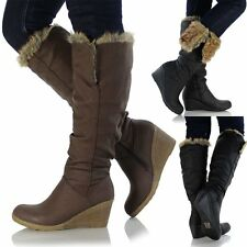 Womens Ladies Knee High Leather Style Flat Low Wedge Heel Biker Riding Fur Boots