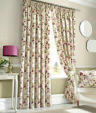 RED PINK CREAM FLORAL PENCIL PLEAT TAPE TOP LINED PAIR READY MADE CURTAINS