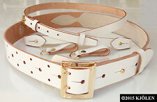 SUPERB HERME GOLD SILVER GOLF LEATHER BLUE JEANS TWIN PRONG DOUBLE HOLE BELT