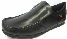MENS KICKERS MOOR TWIN 112501 BLACK SLIP ON ROUND TOE SHOES WITH KICKERS TAG