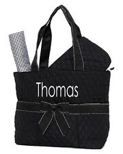 Personalized Solid Black Quilted Diaper Bag 3Pcs Set Embroidery Monogram