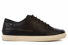 ARMANI JEANS MEN'S SHOES LEATHER TRAINERS SNEAKERS NEW BLACK  EFA