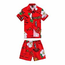 Boy Toddler Aloha Shirt Set Shorts Beach Hawaiian Cruise Luau Cotton Red Boat