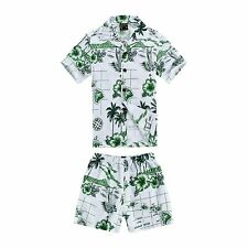 Boy Toddler Aloha Shirt Set Shorts Beach Hawaii Cruise Luau Cotton White Green
