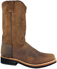 Mens Smoky Mountain Booneville 4028 Western Boot Brown Leather Square Toe Wide