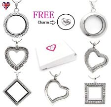 UK 30mm Silver Glass Living Memory Locket Necklace Pendant For Floating Charms