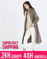 ZARA LONG WOOL COAT WITH BELT | 4070/226 | ALL SIZES, XS S M L and XL