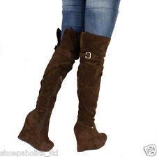 Round Toe Thigh High Wedge Boots BROWN Size 6 to 10