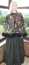 VICTORIAN LADY GENTRY 2 PIECE COSTUME FANCY DRESS SZ 14-20 (Brown Multi Floral)