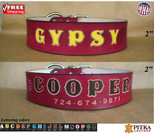 Red Dog Collars - Wide Leather Dog Collars with Name - XXL Custom Dog Collar USA