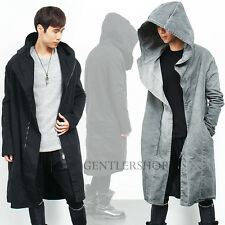Mens Gothic Over Loose Fit Denim Zipper Hooded Long Jacket Coat, GENTLERSHOP