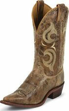 Men's Justin Western Boots Bent Rail Made In USA Puma Tan Leather Wide BR103