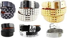 3-Row Metal Pyramid/Maltese Cross Studded Leather Belt Unisex Punk Rock Goth Emo