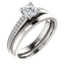 1/2ct Forever Brilliant Moissanite 14K White Gold solitaire Engagement Ring sets