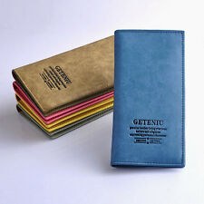 New Fashion Men 5 Colors Genuine Leather Bifold Clutch Long Card Purse Wallet