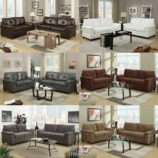 Modern Contemporary Sofa Couch Leather sofa set 2 Pc Living room furniture