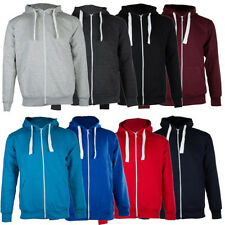 Plain Mens Fleece Zip Up Hoody Jacket Long Sleeve Sweatshirt Hooded Top Jackets