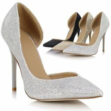 Ladies Womens Sexy High Heel Pointed Toe Stiletto Glitter Party Prom Court Shoes