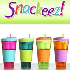 Snackeez As Seen On TV Travel Cup Snack Drink In One Container Lid Straw Kids