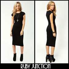 NEW WOMENS LADIES BLACK BODYCON KNEE LENGTH 90'S GRUNGE PARTY DRESS SIZE 10 12