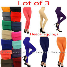 Lot of 3 lady  Women Solid Winter Fleece Brush Lined Thermal Leggings Footless