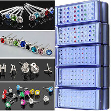 Best New Wholesale Lot 40PCS Mixed Color Crystal Ear Stud silver Plated Earrings
