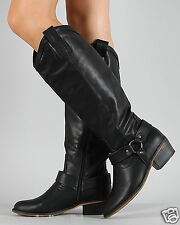BLACK Women's Cowboy Round Toe Riding Knee High Boot Size 5.5 to 8