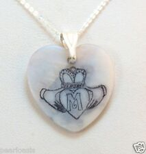 "Claddagh Initial Monogram Mother of Pearl Heart Pendant w/ Chain 18"", 925 Silver"
