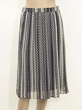 New womens black and white print pleated chiffon fully lined skirt uk size 6-18