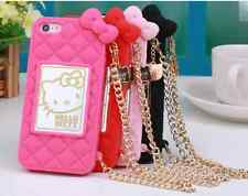 New Hello Kitty Plaid Silicone Rubber Chain Case Cover For iPhone 6 & 6 Plus