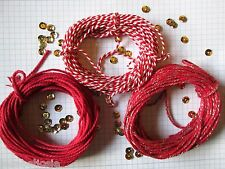 30mts  2mm Thick red Cotton Bakers Twine. 10mts + 10mts stripey+ 10mts sparkle