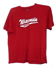 "NCAA Wisconsin Badgers T-shirt Red w/ large ""Badgers"" Banner Logo"