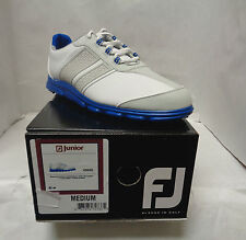 FJ FootJoy Junior Casual Golf Shoes White Grey Blue NEW Spikeless 45045