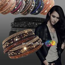 2015 Bracelet  Necklace Charm Bangle Leather Braided Rhinestone Cuff Wristband