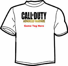 CALL OF DUTY ADVANCED WARFARE  PERSONALISED GAME TAG WHITE T SHIRT