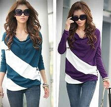 Street Style Drop Collar Pregnant Womens Blouses Diagonal Striped Maternity Tops