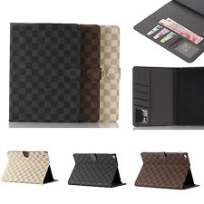 Luxury Grid Flip Leather Wallet Wake Sleep Case Cover Stand For Apple iPad Air 2